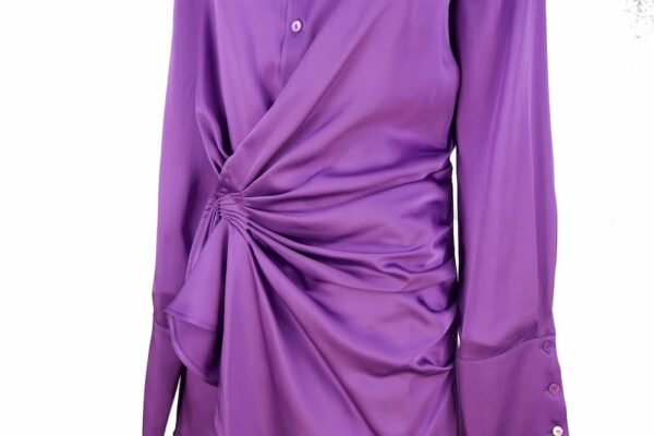 THE ATTICO – gathered satin shirt dress